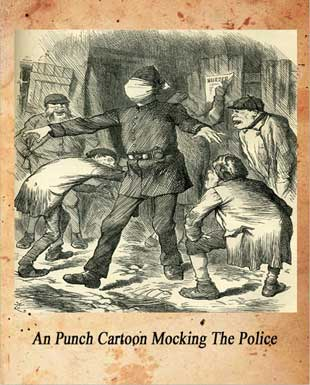 A cartoon showing a blindfolded policeman being taunted by criminals.