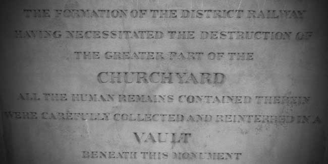 The inscription on the Cloak Lane burial vault.