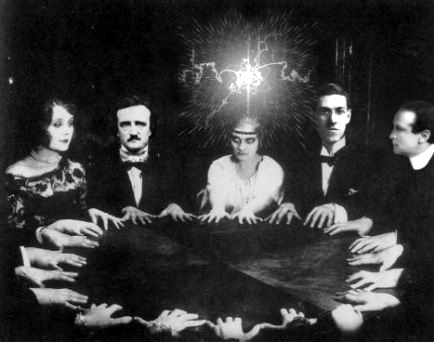 Picture of people at a seance.