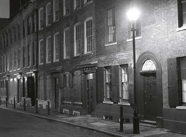 Fournier Street in Spitalfields where the houses are still as they were in 1888.