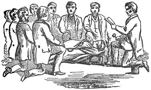 An illustration that shows a group gathered by a grave preparing to perform a ritual.