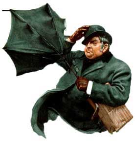 A man fighting to hold his umbrella.