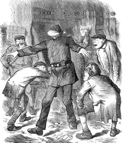 A Puch cartoon showing a blindfolded policeman being taunted by criminals.