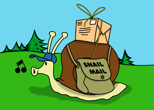 A snail delivering mail.