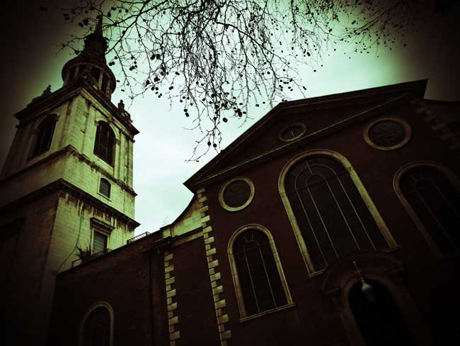 The church tower of St Mary Le Bow.