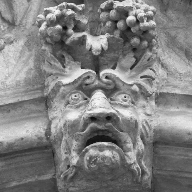 One of the stone faces we encounter on the ghost walk.