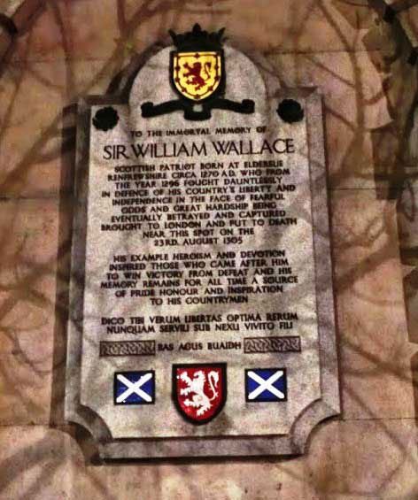 The memorial at the spot where Sir William Wallace was executed.