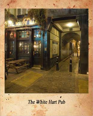 The White Hart Pub at night.